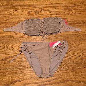 Dusty mauve Bandeau bikini set